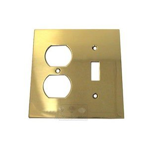 Omnia Switchplates Modern Combination Switchplate in Polished and Lacquered Brass