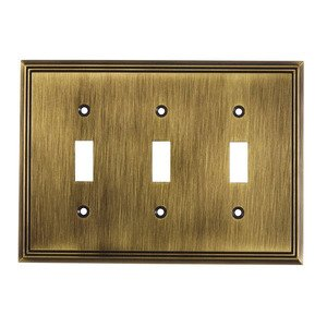Richelieu Hardware - Switchplates - Contemporary Triple Toggle in Antique English