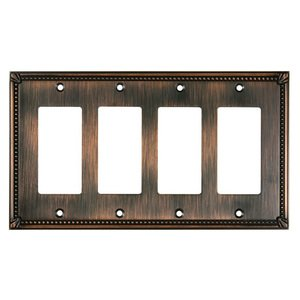 Richelieu Hardware - Switchplates - Traditional Quadruple GFI/Decora in Brushed Oil Rubbed Bronze