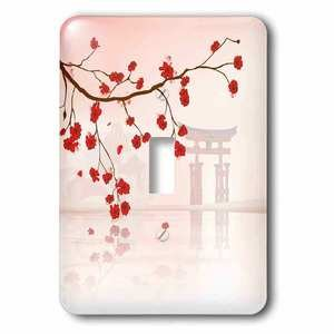 Jazzy Wallplates - Single Toggle Switchplate With Japanese Sakura Red Cherry Blossoms Branching Reflecting Over Water