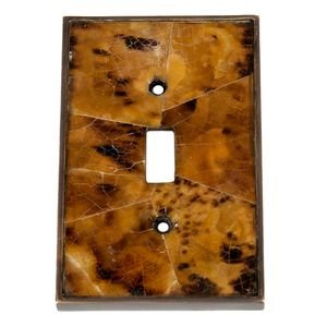Verona Bronze Switchplates - Single Toggle Switchplate in Antique Dark Bronze with Tiger Penshell Inlay