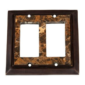Verona Bronze Switchplates - Snakeskin Stone - Double Rocker Switchplate in Antique Dark Bronze with Stone Inlay
