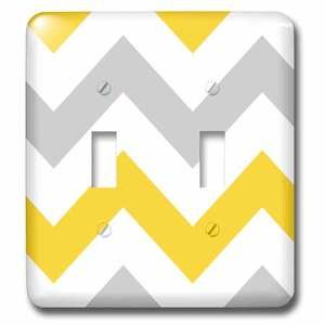 Jazzy Wallplates - Double Toggle Wall Plate With Big Yellow And Grey Chevron Zig Zag Pattern