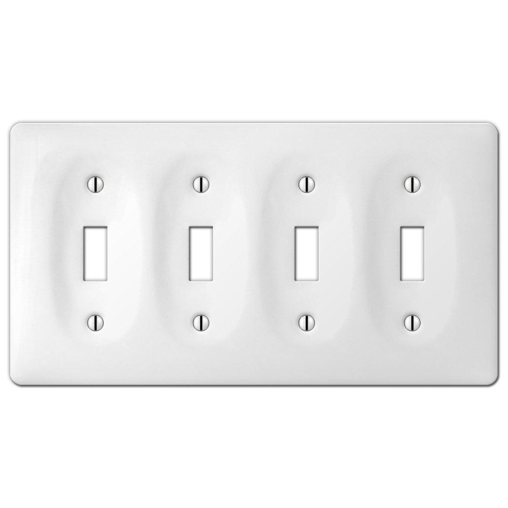 amerelle wallplates allena ceramic triple toggle wallplate in white