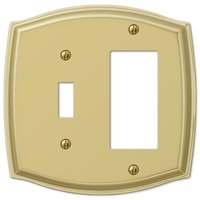 Amerelle Wallplates - Sonoma - Single Toggle Single Rocker Combo Wallplate in Polished Brass