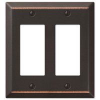 Amerelle Wallplates - Century - Double Rocker Wallplate in Aged Bronze