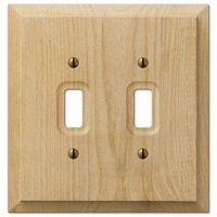 Amerelle Wallplates - Baker - Double Toggle Wallplate in Unfinished Alder Wood