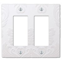 Amerelle Wallplates - Damask - Double Rocker Wallplate in White