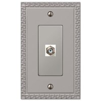Amerelle Wallplates - Greek Key - Single Cable Wallplate in Satin Nickel