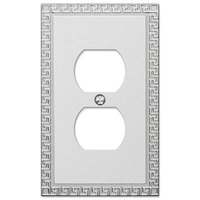 Amerelle Wallplates - Greek Key - Single Duplex Wallplate in Frosted Chrome