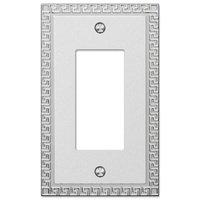 Amerelle Wallplates - Greek Key - Single Rocker Wallplate in Frosted Chrome