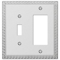Amerelle Wallplates - Greek Key - Single Toggle Single Rocker Combo Wallplate in Frosted Chrome