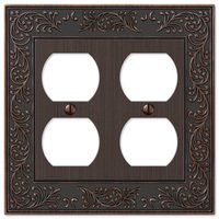 Amerelle Wallplates - English Garden - Double Duplex Wallplate in Aged Bronze