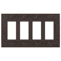 Amerelle Wallplates - English Garden - Quadruple Rocker Wallplate in Aged Bronze
