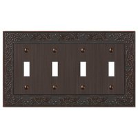 Amerelle Wallplates - English Garden - Quadruple Toggle Wallplate in Aged Bronze
