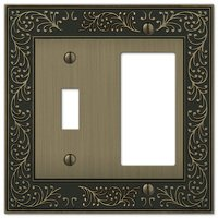 Amerelle Wallplates - English Garden - Single Toggle Single Rocker Combo Wallplate in Brushed Brass