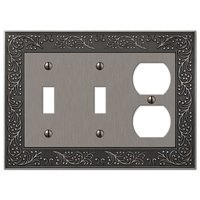 Amerelle Wallplates - English Garden - Double Toggle Single Duplex Combo Wallplate in Antique Nickel