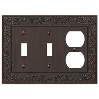 Amerelle Wallplates - English Garden - Double Toggle Single Duplex Combo Wallplate in Aged Bronze