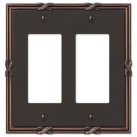 Amerelle Wallplates - Ribbon and Reed - Double Rocker Wallplate in Aged Bronze