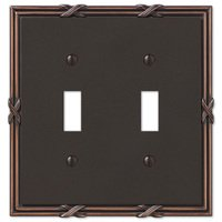 Amerelle Wallplates - Ribbon and Reed - Double Toggle Wallplate in Aged Bronze