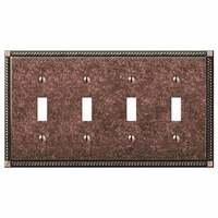 Amerelle Wallplates - Gregorian - Quadruple Toggle Wallplate in Tumbled Aged Bronze