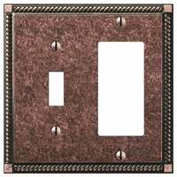 Amerelle Wallplates - Gregorian - Single Toggle Single Rocker Combo Wallplate in Tumbled Aged Bronze