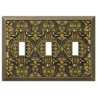 Amerelle Wallplates - Filigree - Triple Toggle Wallplate in Antique Brass
