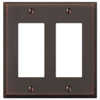 Amerelle Wallplates - Manhattan - Double Rocker Wallplate in Aged Bronze
