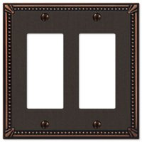 Amerelle Wallplates - Imperial Beaded - Double Rocker Wallplate in Aged Bronze