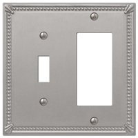Amerelle Wallplates - Imperial Beaded - Single Toggle Single Rocker Combo Wallplate in Brushed Nickel
