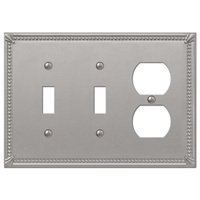 Amerelle Wallplates - Imperial Beaded - Double Toggle Single Duplex Combo Wallplate in Brushed Nickel