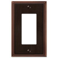 Amerelle Wallplates - Metro Line - Single Rocker Wallplate in Aged Bronze