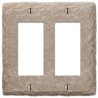 Amerelle Wallplates - Faux Slate - Resin Double Rocker Wallplate in Faux Slate Almond