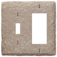 Amerelle Wallplates - Faux Slate - Resin Single Toggle Single Rocker Combo Wallplate in Faux Slate Almond