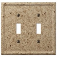 Amerelle Wallplates - Faux Stone - Resin Double Toggle Wallplate in Faux Slate Noce