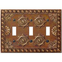 Amerelle Wallplates - Amiens - Resin Triple Toggle Wallplate in Copper