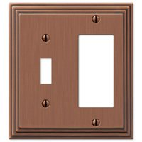 Amerelle Wallplates - Steps - Single Toggle Single Rocker Combo Wallplate in Antique Copper