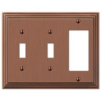 Amerelle Wallplates - Steps - Double Toggle Single Rocker Combo Wallplate in Antique Copper
