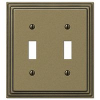 Amerelle Wallplates - Steps - Double Toggle Wallplate in Antique Brass