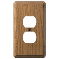 Amerelle Wallplates - Contemporary - Wood Single Duplex Wallplate in Medium Oak