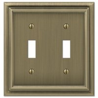 Amerelle Wallplates - Continental - Double Toggle Wallplate in Brushed Brass