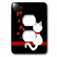 Jazzy Wallplates - Animals - Single Duplex Switch Plate With Pet Lovers Red Hearts Siamese Kitty Cat