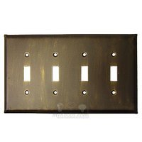 Anne at Home - Plain - Plain Switchplate Quadruple Toggle Switchplate in Pewter Matte
