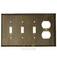 Anne at Home - Plain - Plain Switchplate Combo Duplex Outlet Triple Toggle Switchplate in Pewter Matte