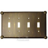 Anne at Home - Button - Button Switchplate Quadruple Toggle Switchplate in Pewter Matte