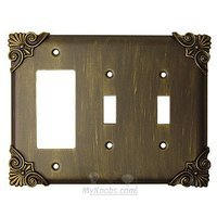 Anne at Home - Corinthia - Corinthia Switchplate Combo Rocker/GFI Double Toggle Switchplate in Pewter Matte