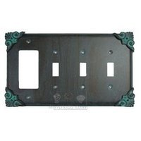 Anne at Home - Corinthia - Corinthia Switchplate Combo Rocker/GFI Triple Toggle Switchplate in Pewter Matte