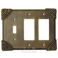 Anne at Home - Roguery - Roguery Switchplate Combo Double Rocker/GFI Single Toggle Switchplate in Pewter Matte