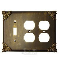 Anne at Home - Sonnet - Sonnet Switchplate Combo Double Duplex Outlet Single Toggle Switchplate in Pewter Matte