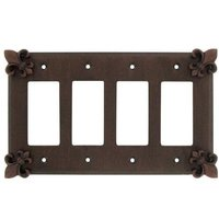 Anne at Home - Fleur De Lis - Fleur De Lis Quadruple Rocker/GFI Switchplate in Pewter Matte
